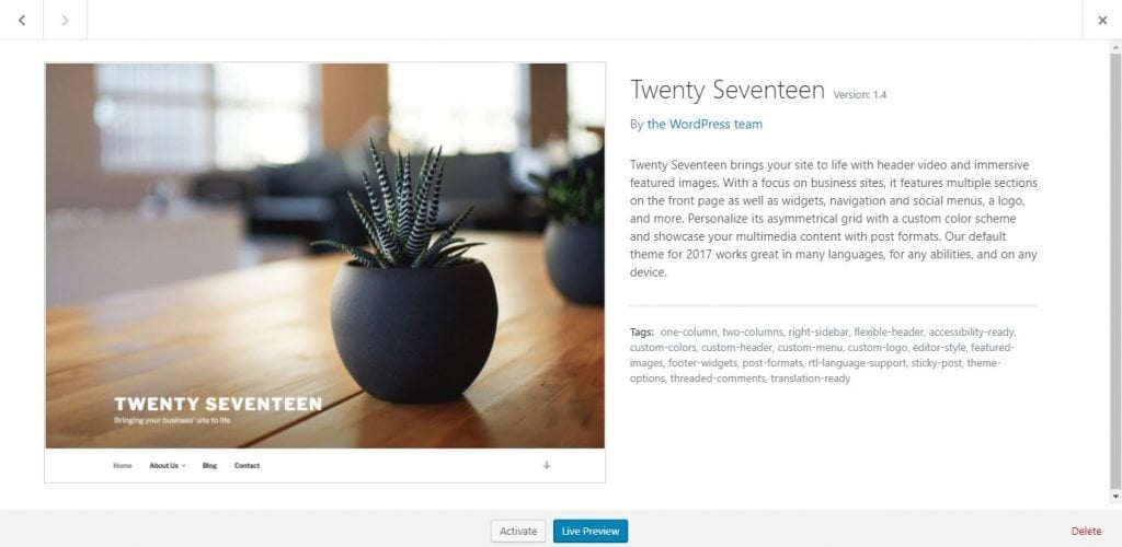 delete wordpress theme twenty seventeen
